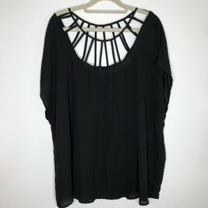 Torrid black short sleeve shirt w/ cutout